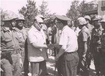 Rauf Denktash Greeting a Turkish Commander